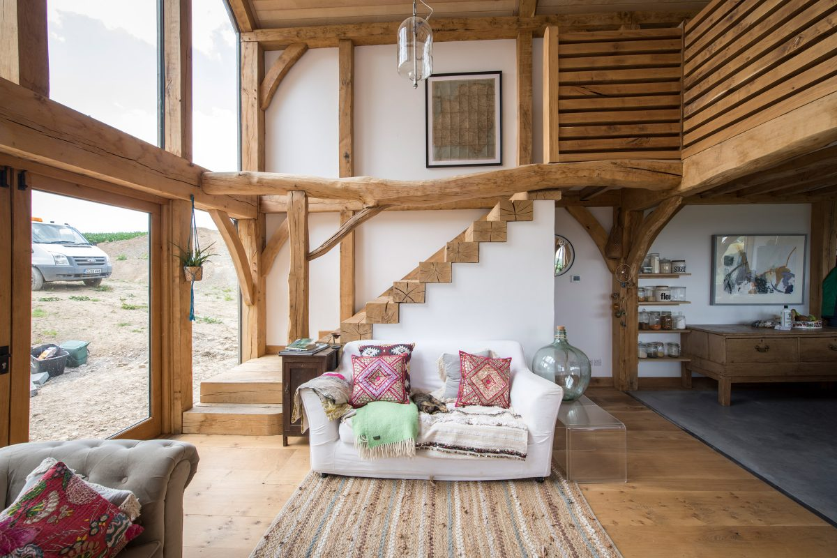 wood beams and stairs