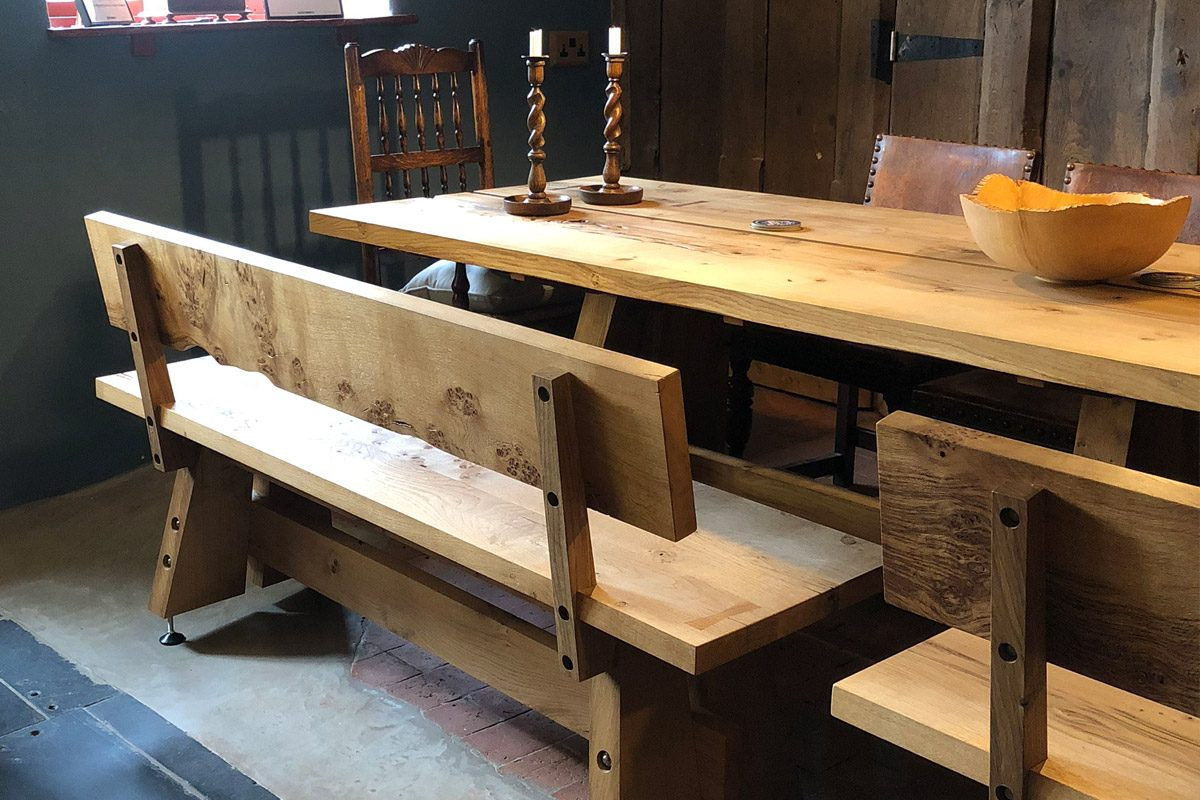 real oak table and bench